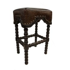 Arabella Dark Embossed Leather Old World Bar Stool