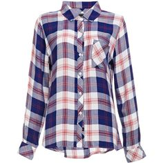 Rails Hunter Button Down Plaid Shirt ($137) ❤ liked on Polyvore featuring tops, shirts, blue, camisas, button up shirts, blue button up shirt, button up tops, button down tops and tartan shirt