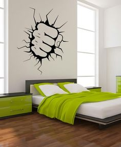 Punch fist wall decal - cool for a kids room like the hulk ripping the room apart