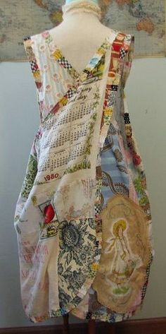 This would be a great art apron! Smock made out of vintage material, vintage tea towels such as dish-towel calendars etc.