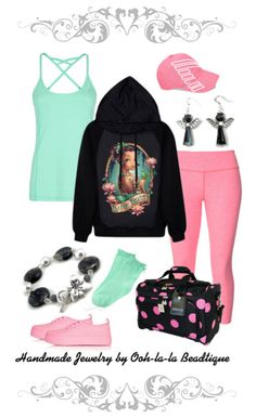 Spring Summer 2015 casual sporty outfit. 3 colors, Turquoise, black and pink. On Polyvore by Ooh-la-la Beadtique #sporty#love #girl #beautiful #fashion #cute #pink #polyvore