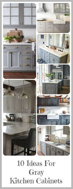 I've been obsessed with gray cabinets lately and can't wait to paint mine gray. Here are some of my top favorite inspirations for gray cabinet colors and styles! Some of the posts have tutorials th...