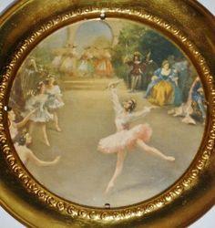 VTG Solid Brass Ballerina Dancers Ballet Pointe England Plate Glass Wall Hanging