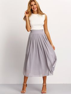 Online shopping for Elastic Waist Maxi Skirt GREY from a great selection of women's fashion clothing & more at MakeMeChic.COM.
