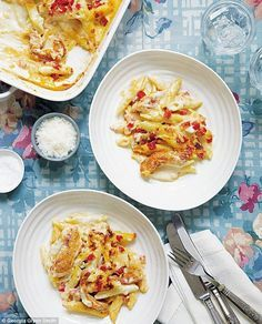 Saturday Night Pasta ~ chicken, tomatoes, & penne pasta baked in a creamy Dijon-Parmesan sauce ~ recipe from the book 'Mary Berry's Absolute Favourites' | via Daily Mail