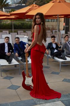 Midnight Red poolside lounging with a fabulous view of a Camille La Vie dress #camillelavie #CLVprom