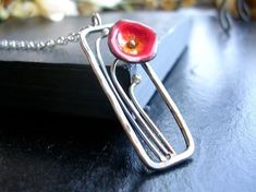 Enamel Poppy Rectangle Frame Necklace Fine Enamel Jewelry -made to order in Bright Red/Orange or pick your favorite color