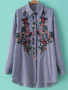 Striped Floral Embroidered Shirt