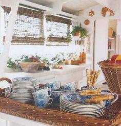 bamboo, wicker, blue and white china