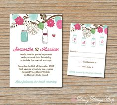 Wedding Invitation - Mason Jars and Flower Medley Hanging from Tree Branch - Invitation and RSVP Card with Envelopes on Etsy, $2.25