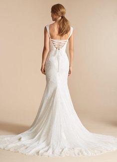 dda3b947074c Halette 7802 by Ti AdoraåÊIvory lace and English Net trumpet bridal gown.  V-neckline