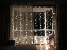 HOAEY LED String Curtain Lights, Waterproof 300 Leds Decorative String Lights for Bedroom Garden Window Wedding Party Christmas Holiday Seasonal Decor Indoor&Outdoor 3X3-Meters (Warm White)