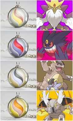 Pokemon X and Y Mega Stone necklace pendants. Alakazam, Gengar, Kangaskhan and Pinsir. #nintendo #gaming #treatsforgeeks