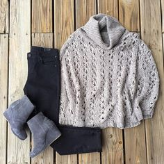 Cozy up this fall with this knitted poncho!  | Grey poncho $66 | Black Diana skinny $78 | Grey Toms wedges $98 | #fallfashion #ponchos #cozy #shopjuneandbeyond #kutfromthekloth