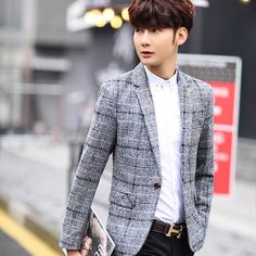 New Fashion Casual Men Blazer Cotton Slim Korea Style Suit Blazer Masculino Male Suits Jacket Blazers Men M-3XL