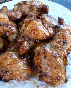 "Spicy Honey Brushed Chicken Thighs - A Cooking Light recipe. One of my favorite recipes ever. Great ""stand by"" meal! I serve with veggies and some sort of potato usually. SO much flavor!"
