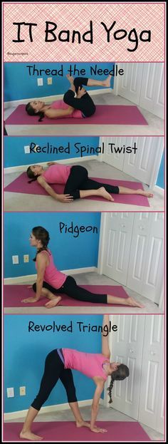 IT band yoga! Say goodbye to IT band pain with these poses (Mobility Exercises) Pilates, Tight It Band, It Band Syndrome, It Band Stretches, Itbs Stretches, Iliotibial Band Stretches, Iliotibial Band Syndrome, Psoas Release, Band Workouts