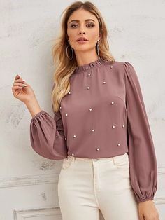 To find out about the Pearl Beaded Frilled Neckline Lantern Sleeve Top at SHEIN, part of our latest Blouses ready to shop online today! Dressy Tops, Fancy Tops, Outfit Formal Mujer, Latest Fashion For Women, Womens Fashion, Designs For Dresses, Business Casual Outfits, Pulls, Blouses For Women