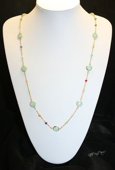 Multi Colour Austrian Pacific Opal  Crystal with Glass Beads Gold Plated Long Handmade Necklace by EmeraldaCrystal on Etsy