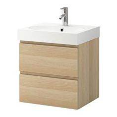 "GODMORGON / BRÅVIKEN Sink cabinet with 2 drawers - white stained oak effect, 23 5/8x19 1/4x26 3/4 "" - IKEA"