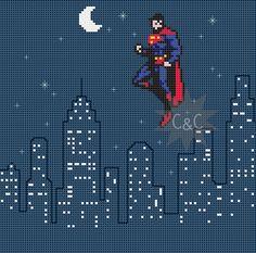 Superman Skyline counted cross stitch PDF by CapesAndCrafts
