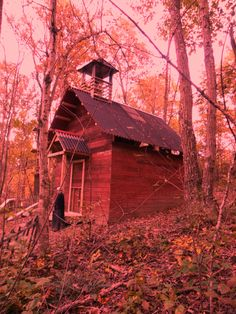 Abandoned little red School house inside the Wicked Forest Haunted Attraction in Logan, Ohio