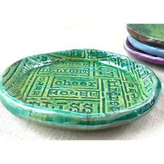 Positive Vibes Ceramic Ring Dish, trinket tea bag dish jewelry storage... ($11) ❤ liked on Polyvore featuring home, home decor, jewelry storage, ceramic home decor, ceramic trinket dish, metallic home decor, green home decor and pottery dishes