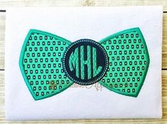 Bowtie Monogram Applique - 5 Sizes! | What's New | Machine Embroidery Designs | SWAKembroidery.com Creative Appliques