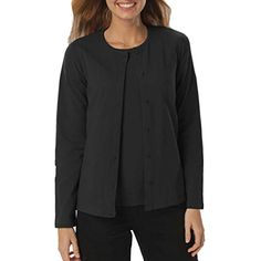 Amy Alder Womens Classic-Fit Basic Button-Front Cardigan in Black is the perfect weight to keep cool tropical breezes or air conditioning off your neck! More cruise clothing ideas at GuyGifter.com.