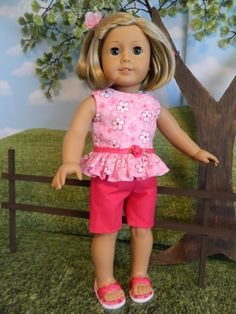 Summer shorts and top made to fit your American Girl doll or similar 18 doll.. Top is made from high quality 100% cotton fabric. Fabric has a white