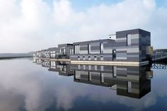 """This residential community was commissioned by a group of water-loving families in the Netherlands. Drijf in Lelystad, which translates to """"Float in Lelystad,"""" was designed by the Amsterdam-based firm Attika Architekten. Construction took place roughly 25 miles outside of the city, and the completed structures, built on concrete caissons, were towed over water to their destination. In total, eight timber-frame homes"""