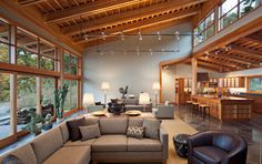 Puget Sound artist's home - contemporary - living room - seattle - by Sam Van Fleet Photography Home Interior Design, Interior Architecture, Best Architects, Modern House Design, Home And Living, Living Rooms, Building A House, House Plans, New Homes