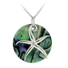 """Sterling Silver Abalone Disc and Starfish Pendant Necklace, 18"""" Amazon Curated Collection. $20.00. Made in Thailand. Comes with 18"""" rolo chain. Perfect addition to any jewelry collection. Save 49%!"""