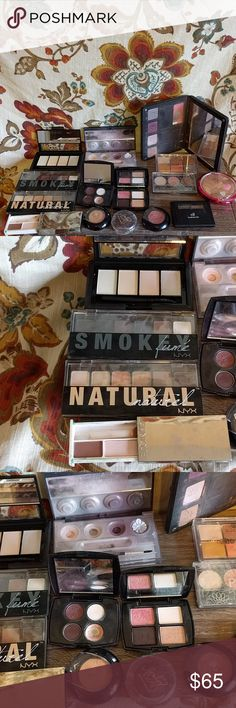 Makeup lot! NYX, ELG, Lancome, Clinique, & more Some used, some brand new! 9 eyeshadow palettes (2NYX, 1 ELF, 2 Lancome, 1 bareMinerals, 1 pop beauty, 1 essence, 1 Arbonne), 1 double eyeshadow Clinique, 3 singles, Lancome and Victoria's secret, 1 eyebrow kit ELF, and 1 bronzer (physicians formula) Lancome Makeup