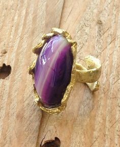 Purple agate and brass ring free form bezel by RingTheRing on Etsy