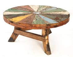 Love this table made of reclaimed wood.