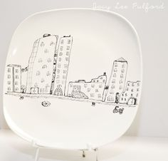 Hand Painted White Porcelain Square Round Edge Plate by ArtByJacy, $35.50