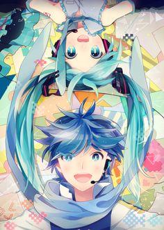Vocaloid - Kaito And Hatsune Miku Kawaii Chibi, Hatsune, Vocaloid, Vocaloid Kaito, Character Design, Anime, Anime Characters, Fan Art, Manga