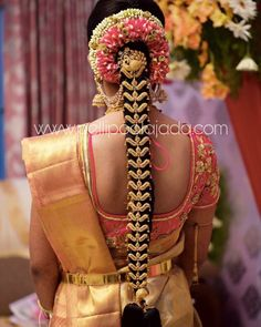 Order Fresh flower poolajada, bridal accessories from our local branches present over SouthIndia, Mumbai, Delhi, Singapore and USA. South Indian Wedding Hairstyles, Bridal Hairstyle Indian Wedding, Bridal Hairdo, Hairdo Wedding, Indian Bridal Makeup, Headpiece Wedding, Indian Hairstyles, My Hairstyle, Bride Hairstyles