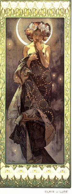 The Moon, by Alphonse Mucha.  I like the way that Mucha uses the moon as a halo.  I go back and forth on the circular star motif on the wrap/dress.  It looks cool in the painting, but I wonder how it would look in real life.