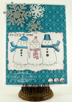 Candy Slabaugh creates a snowman card featuring #Want2Scrap, #TayloredExpressions, #Copics #FlowerSoft #ArtGlitter