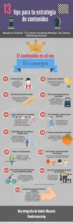 13 tips para tu estrategia de contenidos. Infografía en español. #CommunityManager