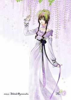 Princess with brown hair, violet eyes, & long purple dress by manga artist Shiitake.