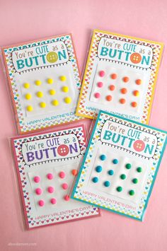 You're Cute as a Button Printable Valentines feature old-fashioned candy buttons and are sure to bring a smile to the faces of classmates. Homemade Valentines, Valentines Day Party, Be My Valentine, Valentine Ideas, Diy And Crafts, Crafts For Kids, Candy Buttons, Old Fashioned Candy, Valentine's Day Printables