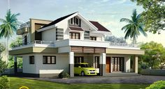 Gallery of Kerala home design, floor plans, elevations, interiors designs and other house related products Craftsman House Plans, Modern House Plans, House Floor Plans, Modern Houses, Small Houses, Two Story House Design, House Front Design, Bungalow Homes, Bungalow House Design