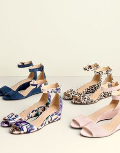 J.Crew women's Laila suede wedges, Laila leather wedges in floral and Laila wedges in leopard print.