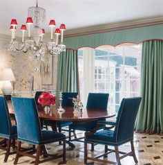 Scarlet Fever ~ Scarlet lampshades echo other rooms. Chandelier, Richard Keith Langham, chairs in Prelle silk velvet and girandole, all antiques. Curtains in Jim Thompson silk; Scalamandré trim.