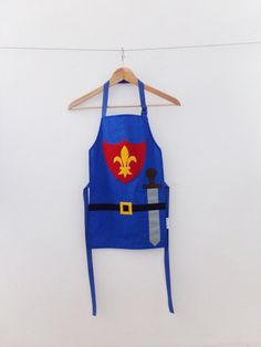 Children's Knight Apron, 100% cotton, Handmade, Blue, Fleur de lis, Dress up, Overalls, Craft, Boys, Girls, Kids, Infant, Toddler, 3 Sizes