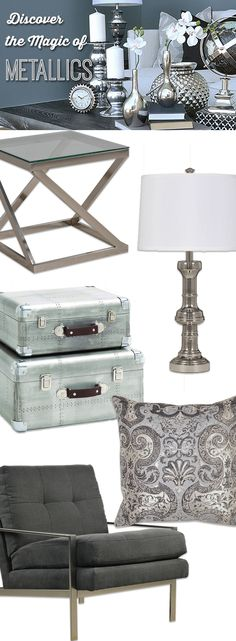 Metallic accents give your space an added boost of inspiration. Shop online now. #LivingSpaces