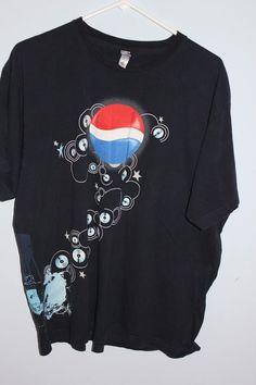 PEPSI COLA LOGO T-Shirt XL Extra Large Music DJ Playing Records Bubble Stars #Pepsi #GraphicTee